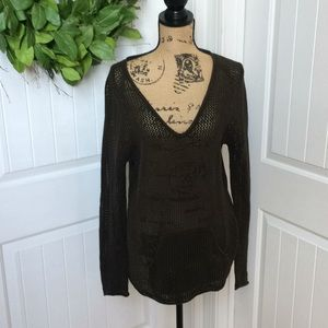 Chico's brown open weave v neck sweater size 2